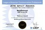 Годовой отчет Металлоинвеста завоевал платиновые награды международного конкурса Impact Awards